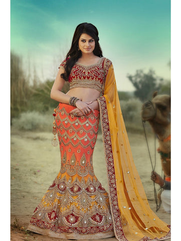 N10001 - Shaded Yellow Orange Satin Velvet Lehenga - Fashion Nation