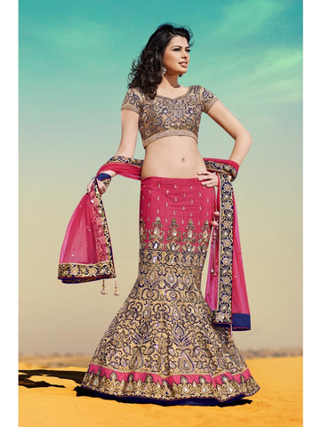N10002 - Navy Blue Pink Satin Velvet Lehenga - Fashion Nation
