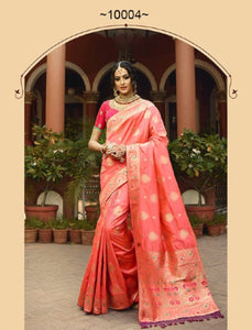 Amazing VRI10004 Bridal Peach Pink Silk Saree - Fashion Nation