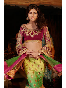 N10006 - Green Satin Velvet Lehenga - Fashion Nation