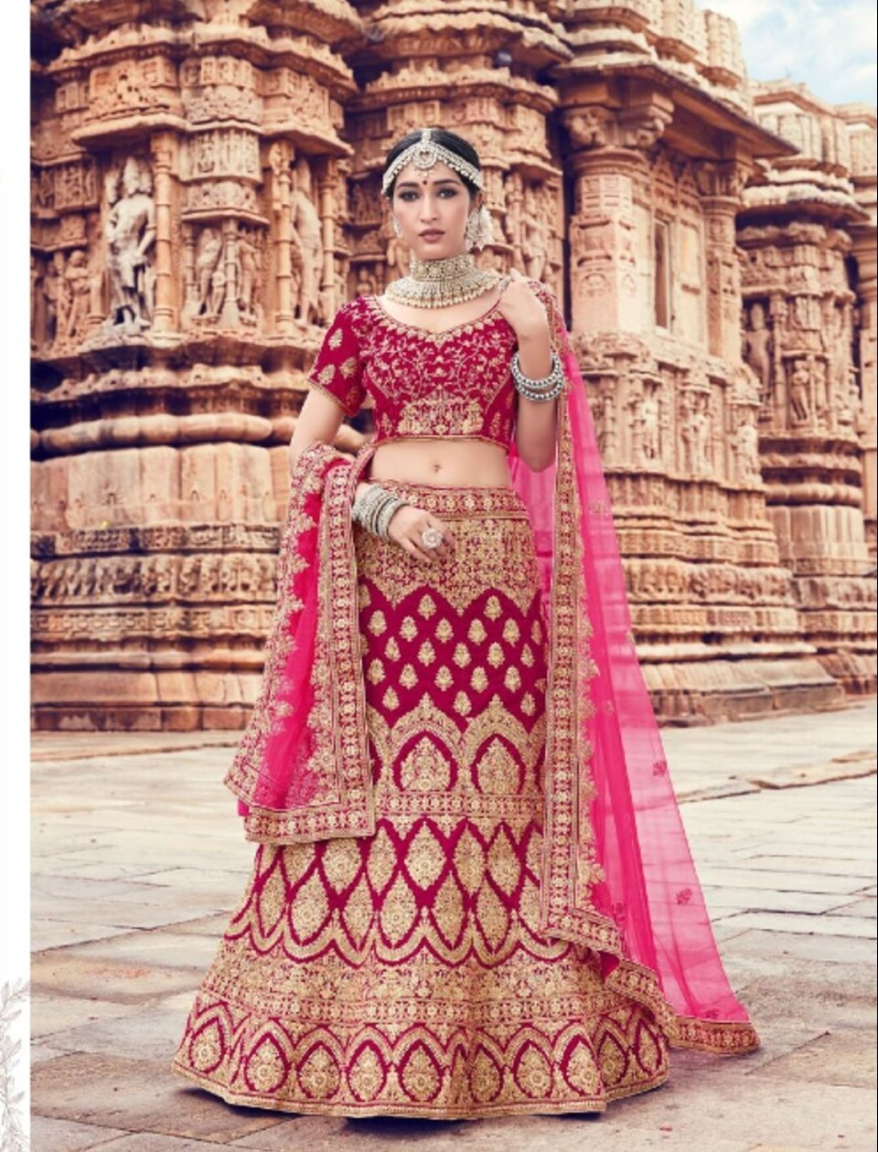Pretty ZIK10008 Bridal Fuchsia Pink Velvet Net Lehenga Choli - Fashion Nation.in
