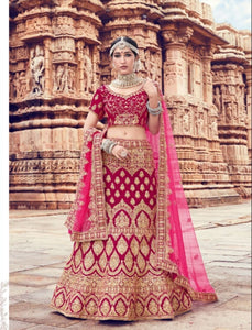 Pretty ZIK10008 Bridal Fuchsia Pink Velvet Net Lehenga Choli - Fashion Nation