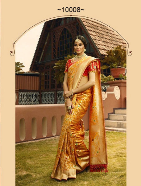 Royal VRI10008 Bridal Mustard Yellow Orange Silk Saree - Fashion Nation