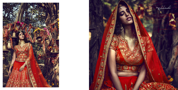 Special Nakkashi Bridal NAK10009 Orange Net Silk Lehenga Choli - Fashion Nation.in  - 3