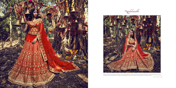 Special Nakkashi Bridal NAK10009 Orange Net Silk Lehenga Choli - Fashion Nation.in  - 2