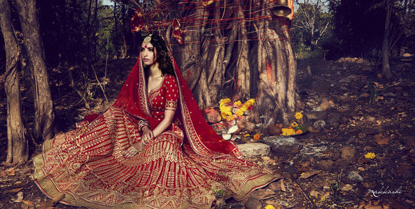 Hand Crafted Nakkashi Bridal NAK10013 Red Net Silk Lehenga Choli - Fashion Nation.in  - 2