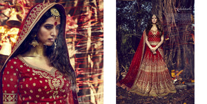 Hand Crafted Nakkashi Bridal NAK10013 Red Net Silk Lehenga Choli - Fashion Nation.in  - 1