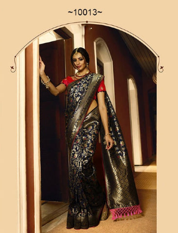 Party Wear VRI10013 Bridal Blue Pink Silk Saree by Fashion Nation