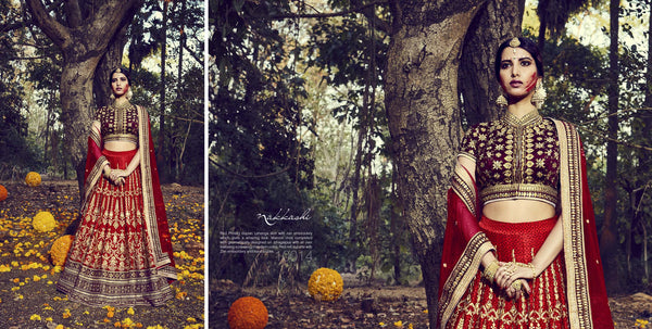 Unique Nakkashi Bridal NAK10014 Red Maroon Net Silk Lehenga Choli - Fashion Nation.in  - 2