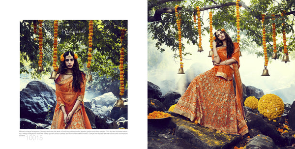Genuine Nakkashi Bridal NAK10015 Orange Net Silk Lehenga Choli - Fashion Nation.in