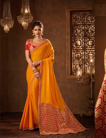 Traditional IW10207 Yellow Banarasi Red Raw Silk Saree by Fashion Nation
