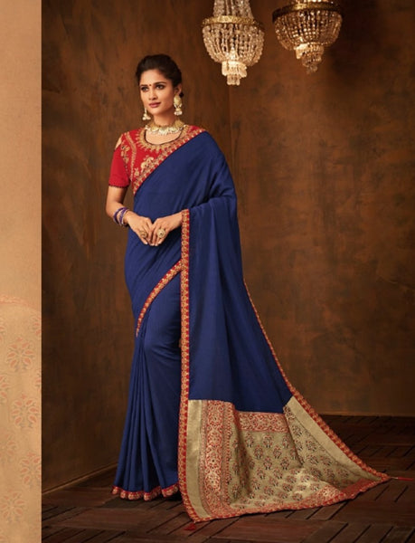 Extraordinary IW10208 Blue Banarasi Red Raw Silk Saree - Fashion Nation
