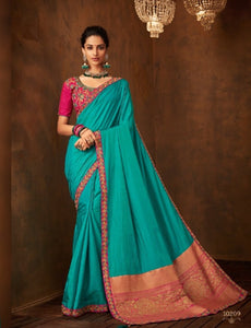 Splendid IW10209 Turquoise Blue Banarasi Pink Raw Silk Saree by Fashion Nation
