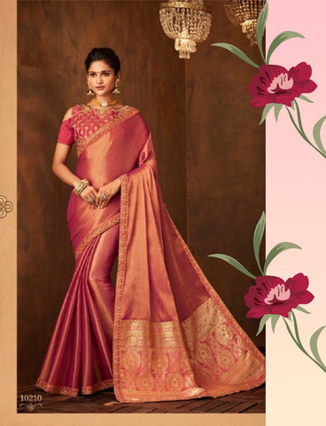 Must Have IW10210 Pink Banarasi Raw Silk Saree by Fashion Nation