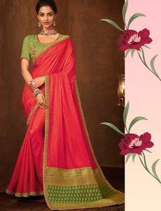 Colourful IW10212 Green Banarasi Pink Raw Silk Saree - Fashion Nation.in