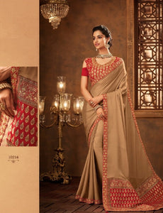 Ethnic IW10214 Beige Banarasi Maroon Raw Silk Saree by Fashion Nation