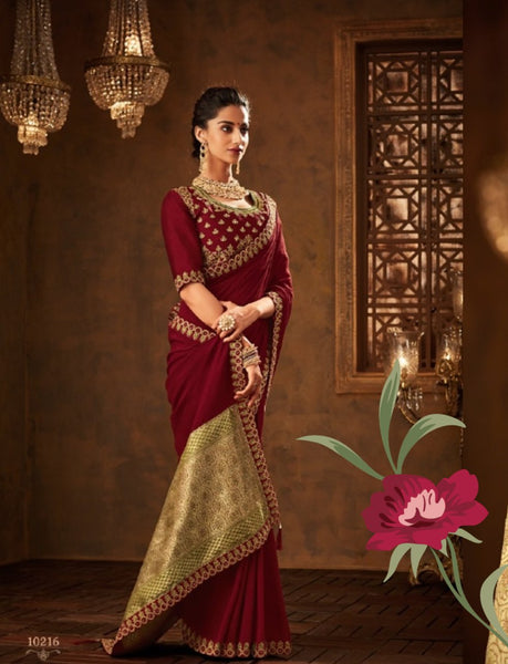Designer Superb IW10216 Burgundy Banarasi Raw Silk Saree by Fashion Nation