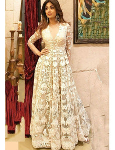 Shilpa Shetty 1023 Bollywood Inspired White Net Silk Anarkali Gown by Fashion Nation