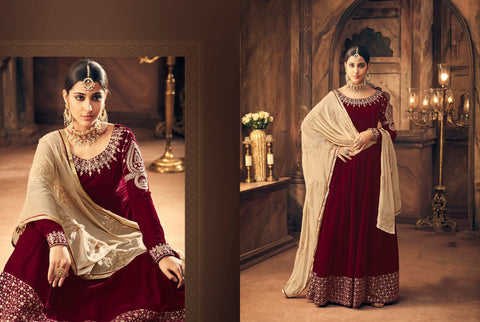 Stylish Indo Western K102564 Maroon Velvet Anarkali Gown by Fashion Nation