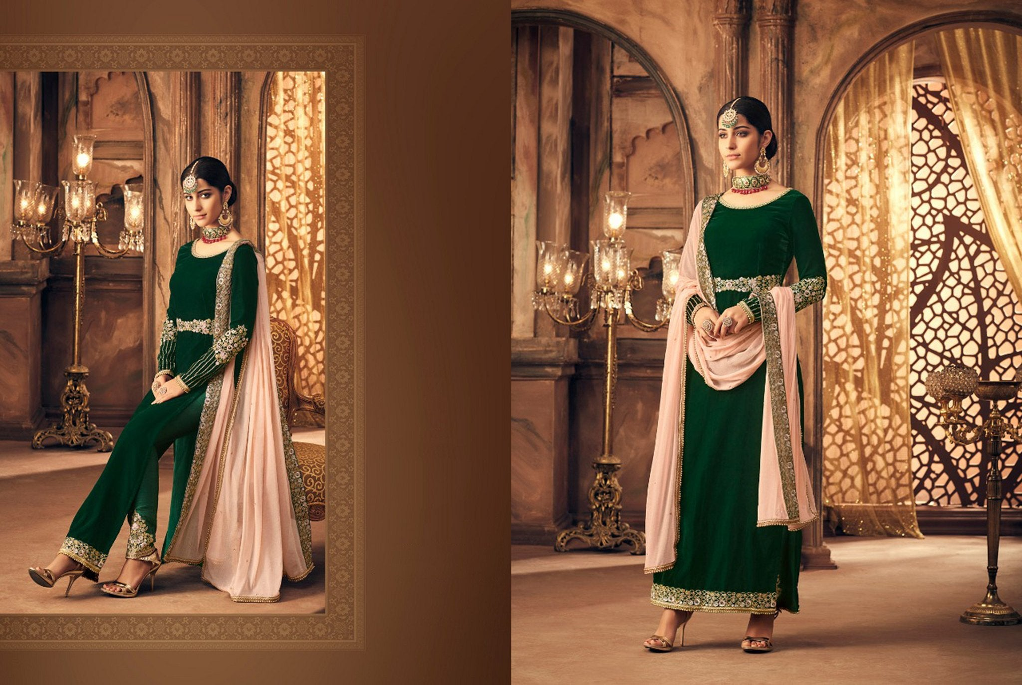 Designer Indo Western K102566 Green Velvet Straight Suit with Pants by Fashion Nation