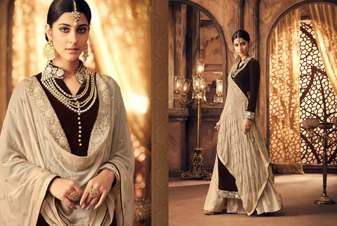 Traditional Indo Western K102568 Brown Velvet Straight Suit with Lehenga - Fashion Nation