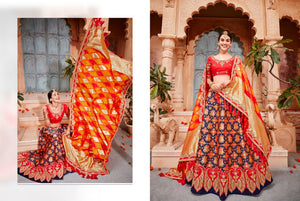 Excellent K102621 Designer Multicoloured Red Silk Lehenga Choli by Fashion Nation