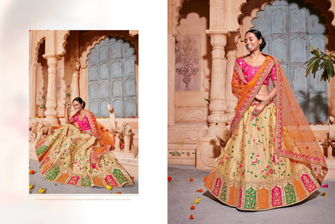 Finest K102622 Designer Multicoloured Beige Silk Lehenga Choli by Fashion Nation