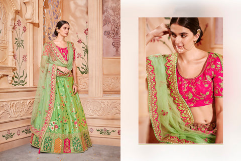 Superb K102623 Designer Multicoloured Green Silk Lehenga Choli by Fashion Nation
