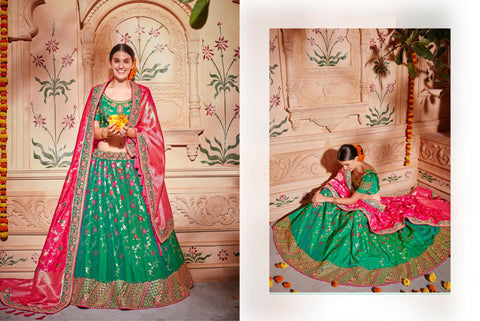 Bridal K102624 Designer Multicoloured Green Pink Silk Lehenga Choli - Fashion Nation