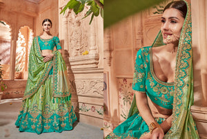 Special K102626 Designer Multicoloured Blue Green Silk Lehenga Choli by Fashion Nation