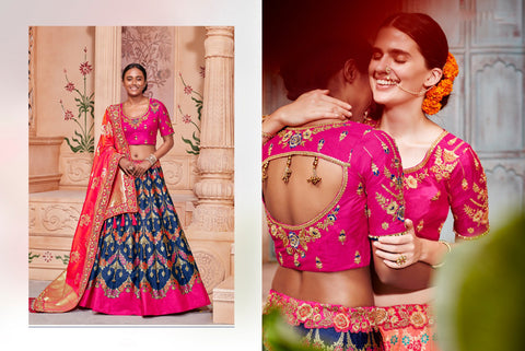 Handcrafted K102628 Designer Multicoloured Blue Pink Silk Lehenga Choli by Fashion Nation