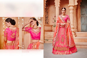 Beautiful K102630 Designer Multicoloured Peach Pink Silk Lehenga Choli - Fashion Nation