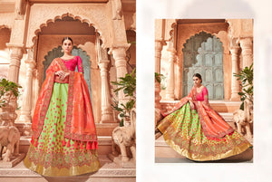 Partywear K102636 Designer Multicoloured Green Silk Lehenga Choli by Fashion Nation