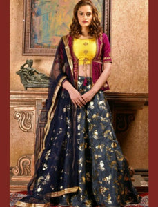 Designer BM1032 Stylish Blue Grey Silk Lehenga Choli with Koti by Fashion Nation