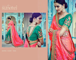 Glamorous Kimora SA1035 Bridal Green Shaded Pink Peach Silk Jacquard Saree - Fashion Nation