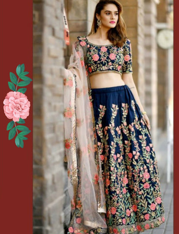 Curated BM1035 Embroidered Blue Multicoloured Silk Lehenga Choli by Fashion Nation