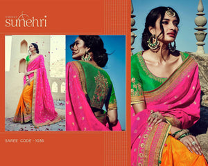 Bridal Kimora SA1036 Designer Green Pink Yellow Silk Banarasi Saree - Fashion Nation