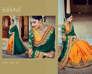 Traditional Bridal Kimora SA1037 Designer Green Yellow Tussar Silk Saree - Fashion Nation