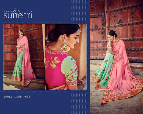 Indian Bridal Kimora SA1038 Designer Green Pink Net Silk Banarasi Saree