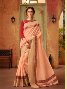 Suave CL10429 Designer Light Peach Cotton Red Silk Saree by Fashion Nation