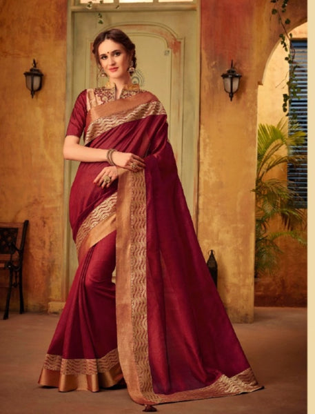 Festive CL10431 Designer Burgundy Cotton Silk Saree by Fashion Nation