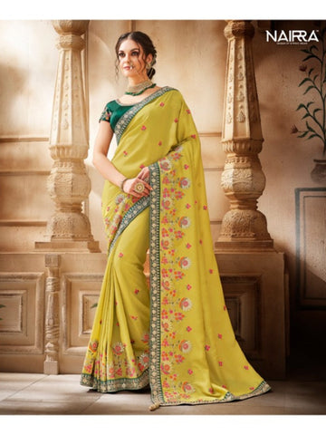 Special Nakkashi NAK1051 Designer Yellow Green Handloom Silk Saree - Fashion Nation