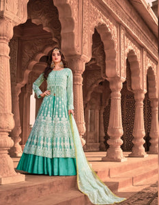Embroidered KS1053 Lucknowi Aqua Georgette Floor Length Anarkali Gown by Fashion Nation