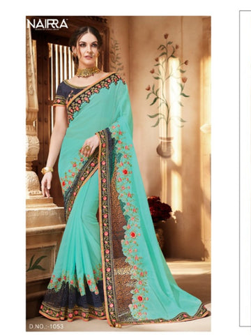 Fabulous Nakkashi NAK1053 Designer Sky Blue Georgette Silk Saree - Fashion Nation