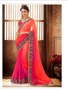 Colourful Nakkashi NAK1054 Designer Shaded Rani Georgette Silk Saree - Fashion Nation