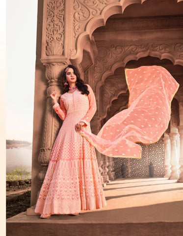 Elegant KS1054 Lucknowi Peach Georgette Floor Length Anarkali Gown by Fashion Nation