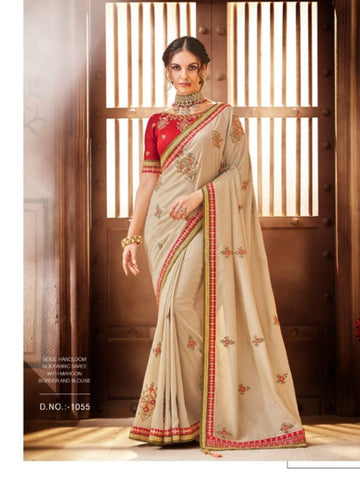 Gorgeous Nakkashi NAK1055 Designer Maroon Beige Handloom Silk Saree - Fashion Nation
