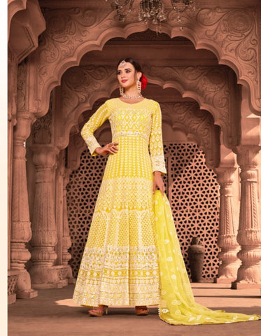 Vibrant KS1055 Lucknowi Yellow Georgette Floor Length Anarkali Gown by Fashion Nation