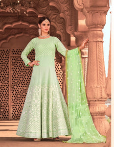Classy KS1056 Lucknowi Sea Green Georgette Floor Length Anarkali Gown by Fashion Nation