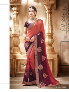 Ethereal Nakkashi NAK1057 Designer Shaded Burgundy Satin Georgette Silk Saree - Fashion Nation